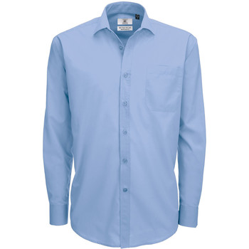 textil Herr Långärmade skjortor B And C SMP61 Business Blue