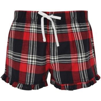 textil Dam Shorts / Bermudas Skinni Fit SK082 Röd/marinefärgad ruta