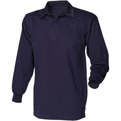 textil Herr Långärmade pikétröjor  Front Row FR100 Marinblått/Navy