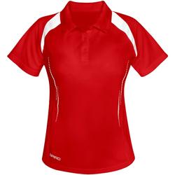 textil Dam Kortärmade pikétröjor Spiro S177F Röd/vit