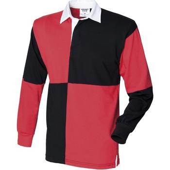 textil Herr Långärmade pikétröjor  Front Row FR02M Svart/röd (vit krage)