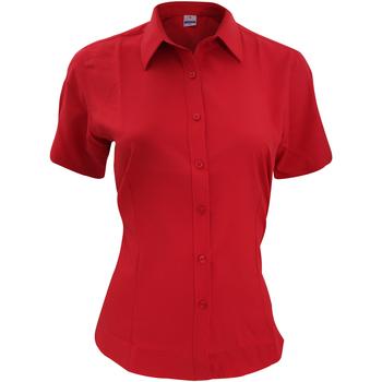 textil Herr Kortärmade skjortor Henbury HB596 Klassiskt röd