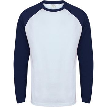 textil Herr Långärmade T-shirts Skinni Fit SF271 Vit / Oxford Navy