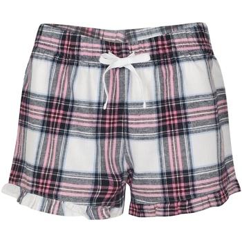 textil Dam Shorts / Bermudas Skinni Fit SK082 Vit/rosa ruta