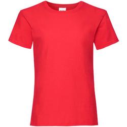 textil Flickor T-shirts Fruit Of The Loom 61005 Röd