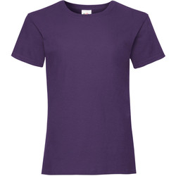 textil Flickor T-shirts Fruit Of The Loom Valueweight Lila