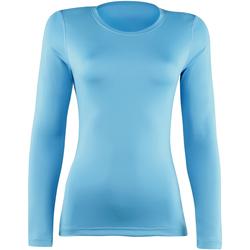 textil Dam Långärmade T-shirts Rhino RH003 Ljusblå