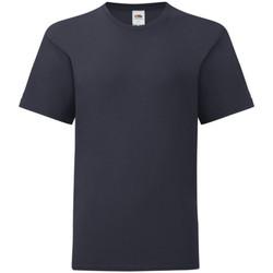 textil Barn T-shirts Fruit Of The Loom 61023 Djupt marinblått