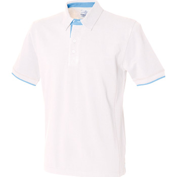 textil Herr Kortärmade pikétröjor Front Row FR200 Vit/himmelblå