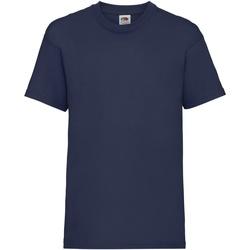 textil Barn T-shirts Fruit Of The Loom 61033 Marinblått