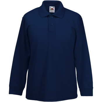 textil Pojkar Långärmade skjortor Fruit Of The Loom 63201 Djupt marinblått