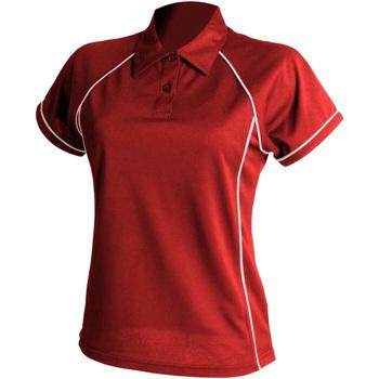 textil Dam Kortärmade pikétröjor Finden & Hales LV371 Röd/vit