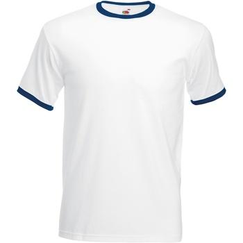 textil Herr T-shirts Fruit Of The Loom 61168 Vit/marinefärgad