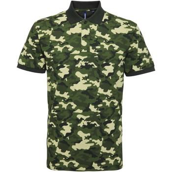 textil Herr Kortärmade pikétröjor Asquith & Fox AQ018 Camo grönt