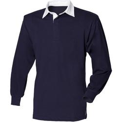 textil Herr Långärmade pikétröjor  Front Row FR100 Marinblått/vit