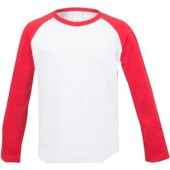 textil Barn Långärmade T-shirts Skinni Fit SM271 Vit / röd