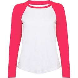 textil Dam Långärmade T-shirts Skinni Fit SK271 Vit / varmrosa
