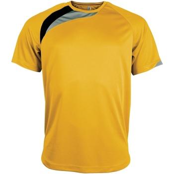 textil Herr T-shirts Kariban Proact PA436 Gul/ svart/ stormgrå