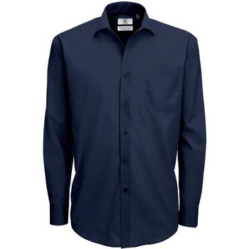 textil Herr Långärmade skjortor B And C SMP61 Marinblått