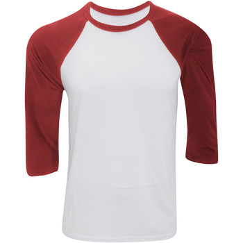 textil Herr Långärmade T-shirts Bella + Canvas CA3200 Vit/Röd