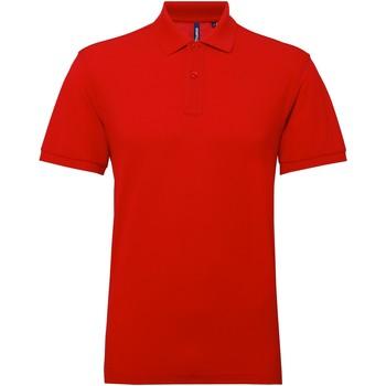 textil Herr Kortärmade pikétröjor Asquith & Fox AQ015 Körsbärsröd