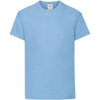 textil Barn T-shirts Fruit Of The Loom 61019 Himmelblått