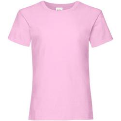 textil Flickor T-shirts Fruit Of The Loom 61005 Ljusrosa