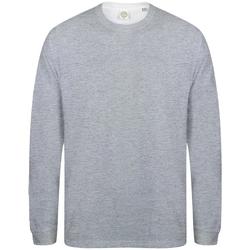 textil Herr Långärmade T-shirts Skinni Fit Slogan Grått