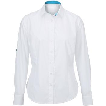 textil Dam Skjortor / Blusar Alexandra AX060 Vit/ Påfågel