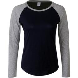 textil Dam Långärmade T-shirts Skinni Fit SK271 Oxford marinblått/lädergrått