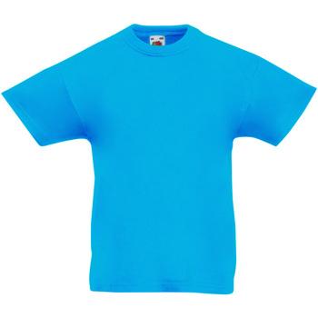 textil Barn T-shirts Fruit Of The Loom 61019 Azurblått