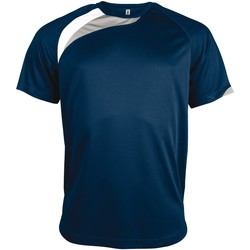 textil Herr T-shirts Kariban Proact PA436 Marinblått/vit/ stormgrått