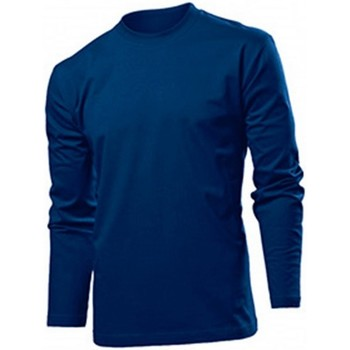 textil Herr Långärmade T-shirts Stedman  Marinblått