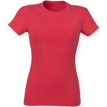 textil Dam T-shirts Skinni Fit SK161 Röd triblend