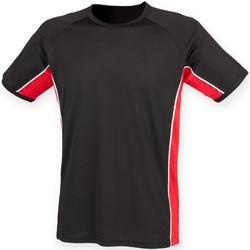 textil Herr T-shirts Finden & Hales LV240 Svart/röd/vit
