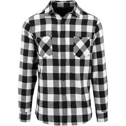 textil Herr Långärmade skjortor Build Your Brand BY031 Svart/vit