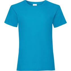 textil Flickor T-shirts Fruit Of The Loom Valueweight Azurblått