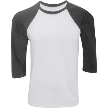 textil Herr Långärmade T-shirts Bella + Canvas CA3200 Vit/mörkgrå
