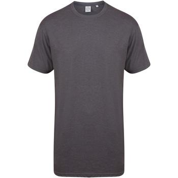 textil Herr T-shirts Skinni Fit Dipped Hem Lätt kolgrönt