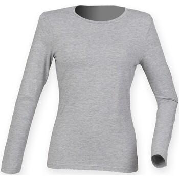textil Dam Långärmade T-shirts Skinni Fit SK124 Grått