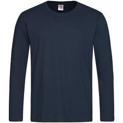 textil Herr Långärmade T-shirts Stedman  Blå midnatt