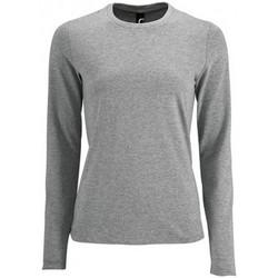 textil Dam Långärmade T-shirts Sols Imperial Grå marl
