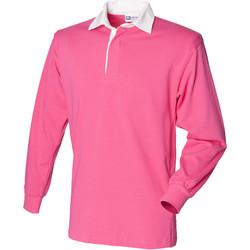 textil Barn Långärmade pikétröjor  Front Row FR109 Ljusrosa