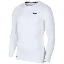 textil Herr Långärmade T-shirts Nike Pro Top Compression Crew Vit