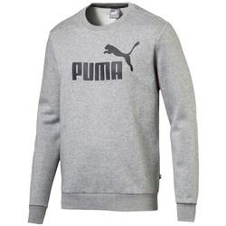 textil Herr Sweatshirts Puma Ess Logo Crew Sweat FL Big Logo ME Gråa