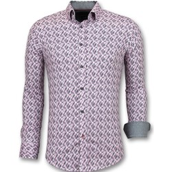 textil Herr Långärmade skjortor Tony Backer För Herrs Kjorta Slim Fit Rosa