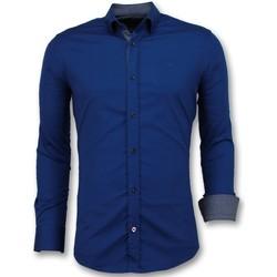 textil Herr Långärmade skjortor Tony Backer Slim Fit För Blank Blus Företag Blå