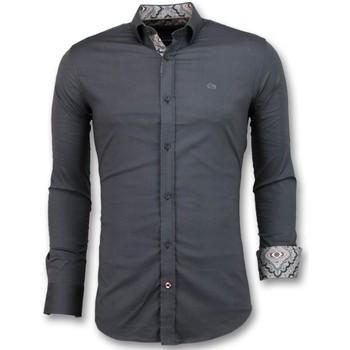 textil Herr Långärmade skjortor Tony Backer Slim Fit För Blank Blus Företag Grå