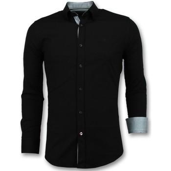textil Herr Långärmade skjortor Tony Backer Italienska Blanka Blusar Slim Fit Business Svart