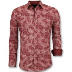textil Herr Långärmade skjortor Tony Backer Skjorta Slim Fit Herrs Kjorta Ståkrage Bordeaux